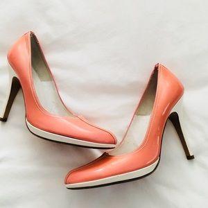 Charles David Peach & White Patent Heels, size 7.5